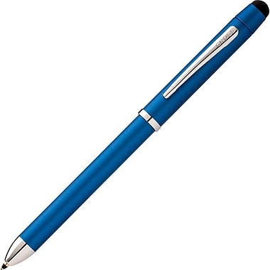 AT Cross® - Stylo/crayon/stylet multifonctionnel Tech 3+, pointe moyenne de 1 mm, barillet bleu métallique