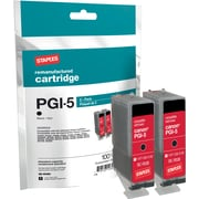 Staples Remanufactured Black Ink Cartridges, Canon PGI-5BK (SIC-RPGI5B), Twin Pack