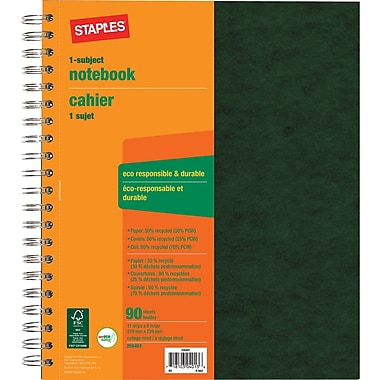 Staples® 1 Subject Notebook, Assorted, 11