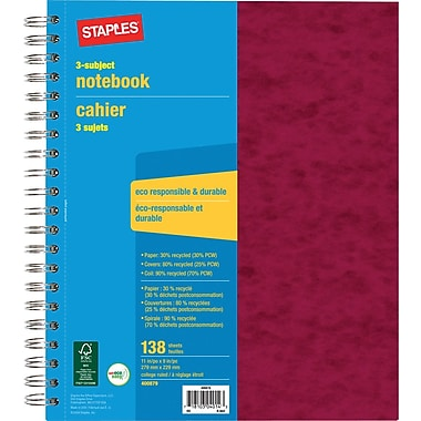Staples® 3 Subject Notebook, 9
