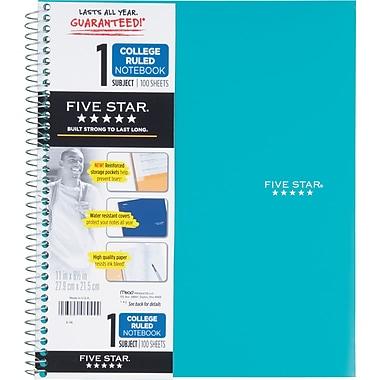 Five Star® - Cahier de notes à 1 sujet de qualité supérieure, 11 po x 8 1/2 po, 200 pages, bleu sarcelle