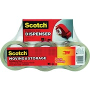 "Scotch® Moving and Storage Packing Tape Dispenser with 6 Rolls, Clear, 1.88"" x 54.6 Yards"