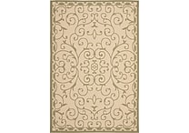 Safavieh Courtyard Indoor/Outdoor Scrollwork 6'-7' X 9'-6' Cream / Green