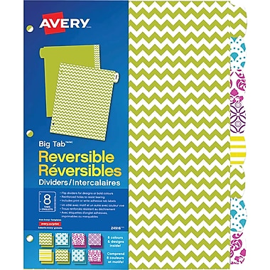 Avery® Big Tab™ Reversible Paper Dividers, Brights, 8-Tab Set