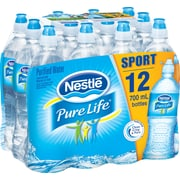 Nestle Pure Life Purified Water, 23.7-ounce Plastic Sport Cap Bottle, 24/Case