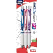 Pentel EnerGel Pearl Liquid Gel Ink Retractable Pens, Medium Point, Assorted, 3/Pack (BL77WBPS3M1)
