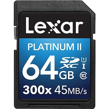 Lexar™ 64GB Platinum II 300x SDHC™ UHS-I Card, Class 10