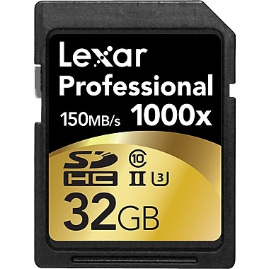 Lexar™ – Carte Professional 1000x SDHC™/SDXC™ UHS-II de 32 Go, classe 10