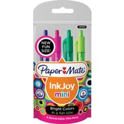 Paper Mate Inkjoy 100 Mini Retractable Ballpoint Ink Pens, 1.0 mm, Assorted Colors, 4/pk (1927825)