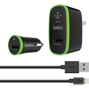 Belkin Wall and Car Charging Kit with Lightning to USB Cable 12W 2.4A (F8J124TT04-BLK)