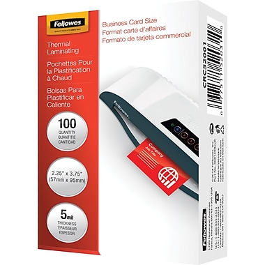 Fellowes Laminating Pouches, 5mil, Business Card Size, 100/Pack (52031)