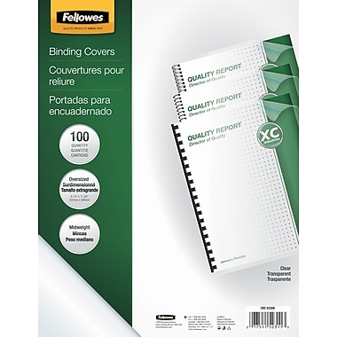Fellowes Crystals Binding Presentation Covers, Oversize, Clear, 100 Pack (52311)
