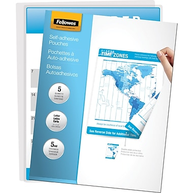 Fellowes Laminating sheetes - Letter Size Self-Adhesive, 5 mil, 5 pack