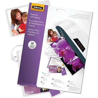 Fellowes Laminating Pouches - Kit, Assorted Sizes, 3 mil, 52 pack