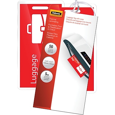 Fellowes Laminating Pouches - Luggage Tag Size, 5 mil, 50 pack
