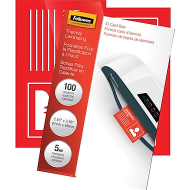 Fellowes Laminating Pouches - ID Tag Size, 5 mil, 100 pack