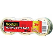 "Scotch Long Lasting Moving & Storage Packing Tape, 1.88"" x 54.6 yds, Clear, 3/Pack"