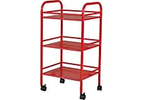 Staples® 3 Shelf Rolling Cart, Red