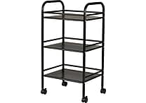 Staples® 3 Shelf Rolling Cart, Black