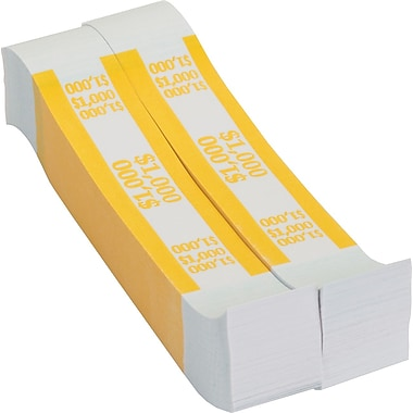Coin-Tainer® $1,000 Currency Strap, Yellow, 1000/Pack