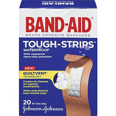 BAND-AID Brand® - Pansements TOUGH-STRIPS® imperméables, un seul format, paq./20