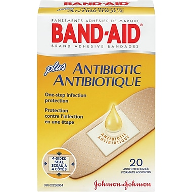 BAND-AID Brand® - Pansements « Plus Antibiotique », formats assortis, paq./20