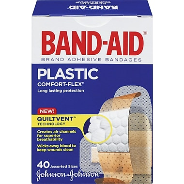 BAND-AID Brand® COMFORT-FLEX Plastic Bandages, Assorted, 40/Pack