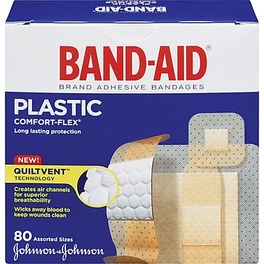 BAND-AID Brand® COMFORT-FLEX Plastic Bandages, Assorted, 80/Pack