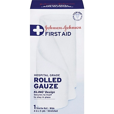 Johnson & Johnson First Aid Rolled Gauze, Wide