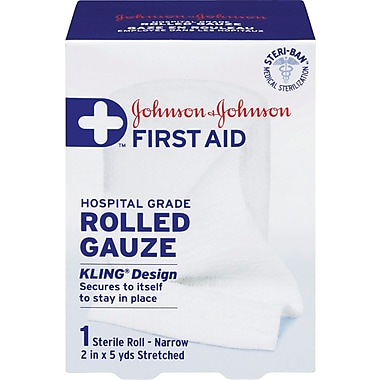 Johnson & Johnson First Aid Rolled Gauze, Narrow