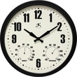 """Infinity Instruments 14"""" Steel Case Indoor/Outdoor Wall Clock with Hygrometer and Thermometer Munich Black (14885BK-3911)"""