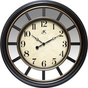 "Infinity Instruments Copenhagen 22"" Black Finish Case with Copper Bezel and Mirror Accent Wall Clock (14968BK-3997)"