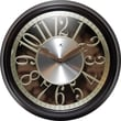 "Infinity Instruments Leeds 15"" Dark Walnut Wall Clock with Die-Cut Floating Dial and Aluminum Disc (14992WL-GD)"