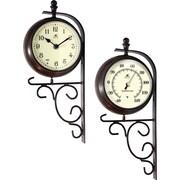 "Infinity Instruments Long Island Indoor/Outdoor 6"" Steel Bracket Mounted Clock/Thermometer (14564RS-3619)"