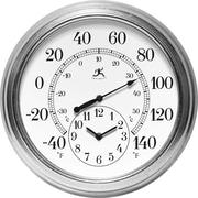 "Infinity Instruments Indoor/Outdoor Prague 16"" Galvanized Steel Case Thermometer with Clock (14665GA-3904)"