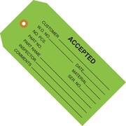 "Staples - 4 3/4"" x 2 3/8"" - ""Accepted (Green)"" Inspection Tag, 1000/Case"
