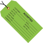 "Staples - 4 3/4"" x 2 3/8"" - ""Accepted (Green)"" Inspection Tag - Pre-Strung, 1000/Case"