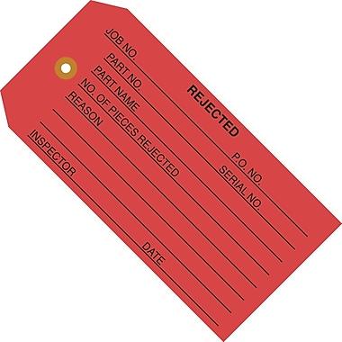 Staples - 4 3/4in. x 2 3/8in. - in.Rejectedin. Inspection Tag, 1000/Case