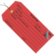 "Staples - 4 3/4"" x 2 3/8"" - ""Rejected"" Inspection Tag 2 Part - Numbered 001 - 499 - Pre-Wired, 500/Case"