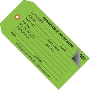 "Staples - 4 3/4"" x 2 3/8"" - ""Repairable or Rework"" Inspection Tag 2 Part - Numbered 001 - 499, 500/Case"