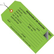 "Staples - 4 3/4"" x 2 3/8"" - ""Repairable or Rework"" Inspection Tag - Numbered 001 - 499 - Pre-Wired, 500/Case"