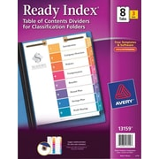 Avery(R) Ready Index(R) Table of Contents Dividers for Classification Folders 13159, 8-Tab Sets, Pack of 3