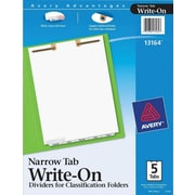 Avery(R) Write-On Dividers for Classification Folders 13164, Narrow Bottom Tabs, 5-Tab Set