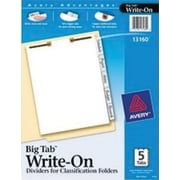 Avery(R) Big Tab(TM) Write-On Dividers for Classification Folders 13160, Side Tabs, 5-Tab Set