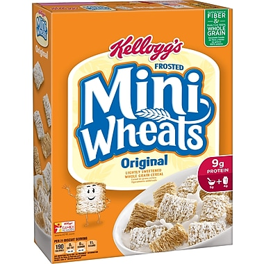 Kelloggs Frosted Mini Wheats Bite Size Cereal, 18 oz., 6/Pack