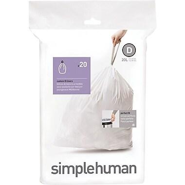 SimplehumanMD – Sacs à poubelle sur mesure, code D, 20 L (5,3 gal), 240 sacs/boîte