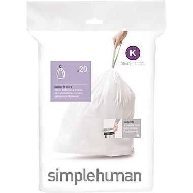 simplehuman® Custom Fit Trash Bags, Code K, 9-12 Gallon, 240 Bags/Box