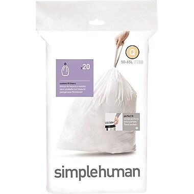 SimplehumanMD – Sacs à poubelle sur mesure, code Q, 13 à 17 gallons, 240 sacs/boîte