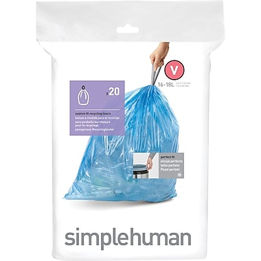 simplehuman® Custom Fit Recycling Liners, Code V, 4.2-4.7 Gallon, 240 Bags/Box