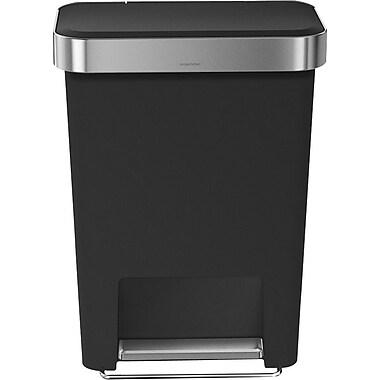simplehuman® Rectangular Step Trash Can with Liner Pocket, Black, 12 Gallon